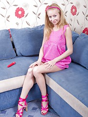 Hairy girl Lisa T is pink all over