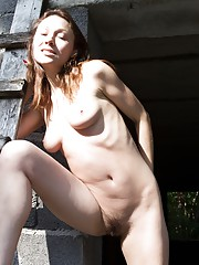 Hairy girl Nata gets naughty outdoors