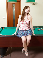 Silviya plays pool with her hairy pussy