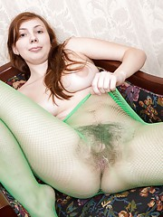 Hairy girl Silviya thinks its easy being green