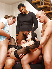When Ally agreed to let a stranger use her cell phone, she probably didn't think it was a prelude to being fucked by four guys at once -- but she sure rolled with the idea once the zippers were down and the cocks came out.