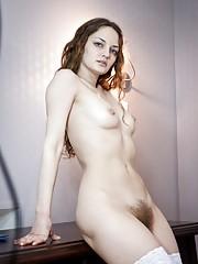Ginger stuns in white lingerie