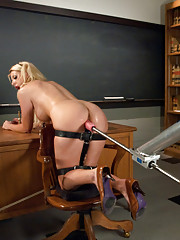 Oiled, clamped, tied up, pressed in your face boobs and a hot California blonde babe attached to them getting fucked by loveless machines!