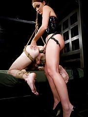 Sarah Faye fucks her slave up the ass