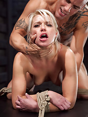 Slave slut Anikka Albrite fucked while suspended it tight bondage