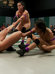 Fresh Wrestler steps in for Team Purple and desperately pussy licks and fingers in attempt to catch up to team Pink who leads at the start of round 2.