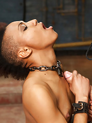 Humiliated slave girl made to dance for cock