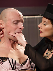 Maitresse Madeline totally humiliates slave with full feminization then trains him to service cock and pussy for a party while fucking him in the ass.