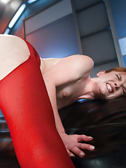Rips her stockings at the crotch, shoves a machine in her pussy & cums like it