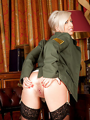 Military bombshell milf shows off her big hard nipples