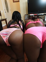 Choco sluts with bubble butts enjoying some proper fucking