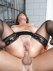Juicy MILF with a huge rack loving the cock