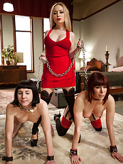 Lesbian Slave Trainer Aiden Starr indoctrinates two new sluts.