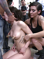 Feisty French girl submits to public sex and humiliation