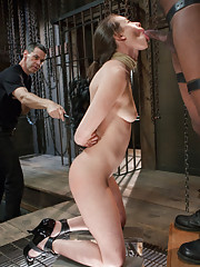Sexy Casey Calvert wraps her slave lips around hard cock for your pleasure