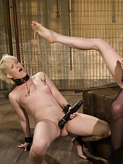 Submissive lesbian slut submits to Maitresse Madeline in a tough lesbian domination movie with orgasms from heavy spanking and flogging.