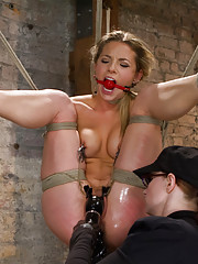 Hot blonde bunny Bailey is put to the test - made to shock herself in the cunt, endure foot caning, pile driver suspension, suction, and an inversion!