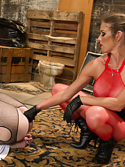 Doe eyed beauty is caned, suspended and ass fucked in handcuff in an alley by a sexy lesbian dominatrix!