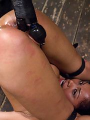 Yasmine returns submitting to Orlando in brutal device minimalism featuring a tall metal cage, intense back bend & very tough wood stock pile driver!