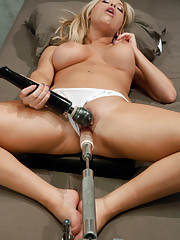 Sexy, hot blonde with pouty lips and a tight pussy spreads her Penthouse Pet legs for the speed of the machines. A slick dong fucking makes her cum.