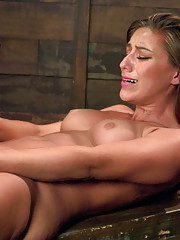 Pussy fucking a tall, lean athlete with powerful machines that make her squirt and beg for more.