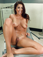 "She teaches herself to cum twice in a row by fucking machines - an EPIC orgasm that is so intense and explosive, Evi shouts ""I feel like a woman!""."