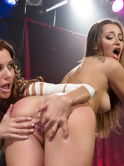 Dani Daniels gets suspended and fucked then has intense strap-on sex with Gia Dimarco wielding the cock!
