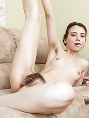 Erika brushes her little hairy body