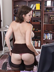 Hairy babe Mystique Jones is a sexy secretary
