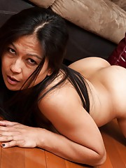 Hairy woman Max Makita strips while drinking wine