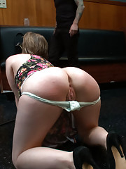With her juicy round ass and wet holes exposed Alani is made to mop a bar floor while flogged, then blindfolded and made to suck stranger cock
