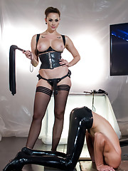Chanel Preston has her way with rubber slave boy:  Foot and ass worship, caning, CBT, electricity, trampling, strap-on, human dildo, tease and denial.
