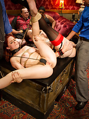 Anal Slut Penny Pax ass fucks the biggest dick at the party at the hands of her slutty slave sister Bella Rossi