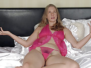In her bedroom, April strips in lingerie to play