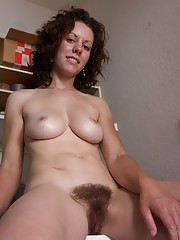 Hairy maid Candy Smith loves doing laundry