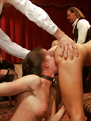 Big tit blonde bombshell gets fucked hard while slave girl in training licks her hot asshole