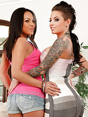 Hot babes Adrianna Luna & Christy Mack get into fight then both fuck big cock guy.