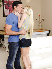 2 gorgeous blondes have hot threesome with big cocked guy and he loves to fuck both of them.