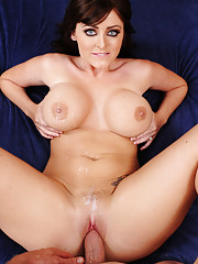 Sophie Dee has hot sex with her big cocked husband and she loves to ride his thick cock.