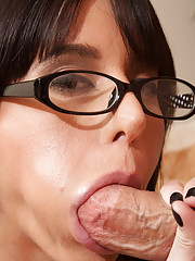 Sexy brunette MILF gets fucked rough and reaches huge orgasms from big cock.