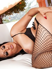Busty hot latina babe sucks big cock and then rides cock for big orgasms.