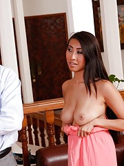 Sexy asian babe seduces married guy into fucking her pussy.