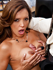 Frisky Francesca Le fucks and sucks her co-workers giant rock hard cock.