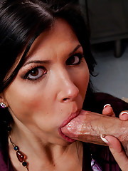 Sexy Rebeca Linares gets naughty in the office by fucking and sucking her coworkers hard cock.