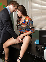 Gorgeous babe Yurizan Beltran has hot sex in her bosses office.