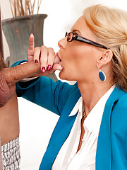 Hot blonde worker fucks guy so he does not get in trouble.