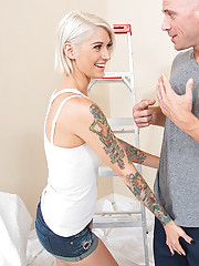 Kleio Valentien makes married guy fuck her tight pussy and she loves his thick cock.