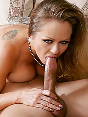 Horny blonde milf does 69 with young cock