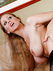 Julia Ann fucks her sons friend on the couch