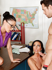 Sexy teacher Jessica Jaymes is seduced by her two students and ends up having a fucking threesom